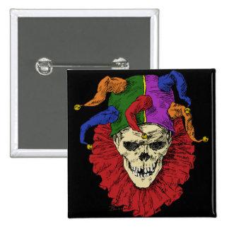 Death Jester Clown Skull 2 Inch Square Button