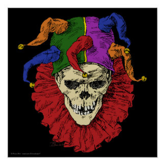 Death Jester Clown Skull Poster