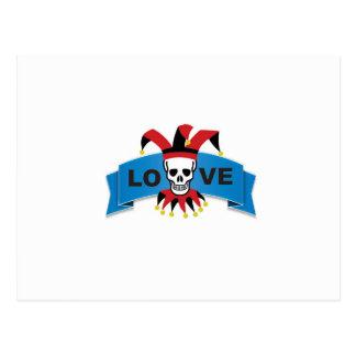 death love banner blue postcard