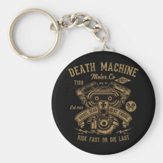 Death Machine Harley Motor Ride Fast or Die Last Keychain