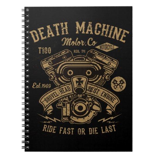 Death Machine Harley Motor Ride Fast or Die Last Notebook