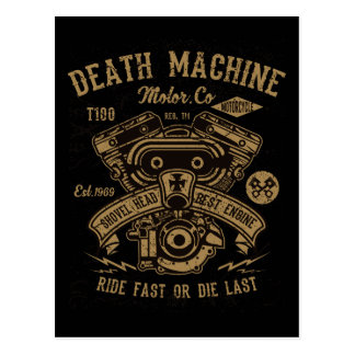 Death Machine Harley Motor Ride Fast or Die Last Postcard