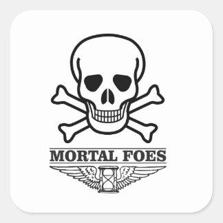 death mortal foes square sticker