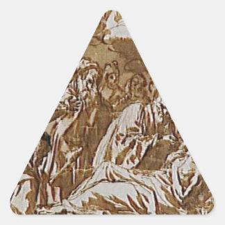 Death of a religious by Francisco de Zurbaran Triangle Sticker