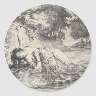 Death of Ophelia Classic Round Sticker