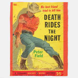 Death Rides the Night western book cover Fleece Blanket
