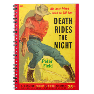 Death Rides the Night western book cover Spiral Note Books