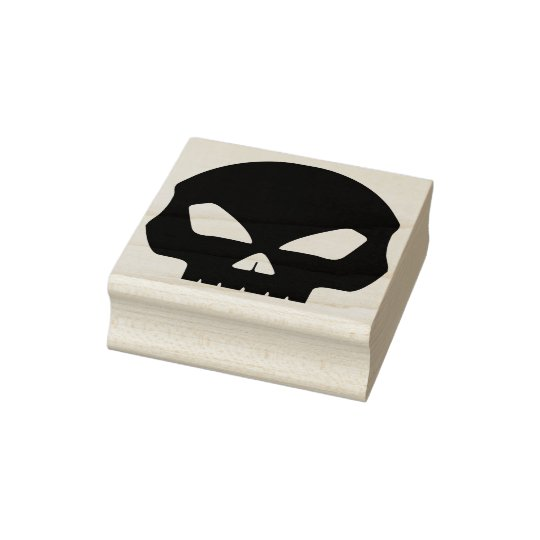 death skull silhouette art stamp