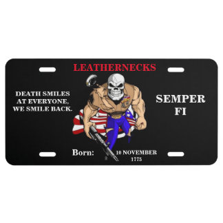 DEATH SMILES AT EVERYONE / LEATHERNECKS SMILE BACK LICENSE PLATE