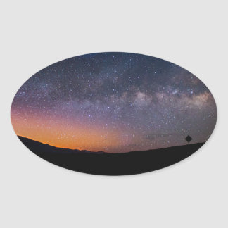 Death Valley milky way Sunset Oval Sticker