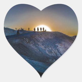 Death Valley zabriskie point Sunset Heart Sticker