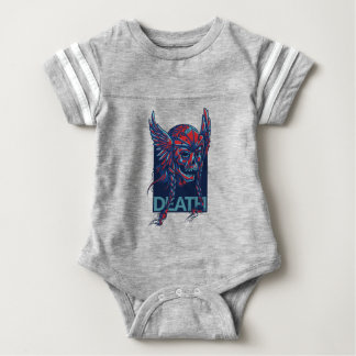 death with flying skull design baby bodysuit