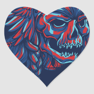 death with flying skull design heart sticker