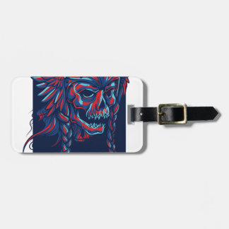 death with flying skull design luggage tag