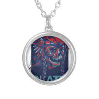 death with flying skull design silver plated necklace