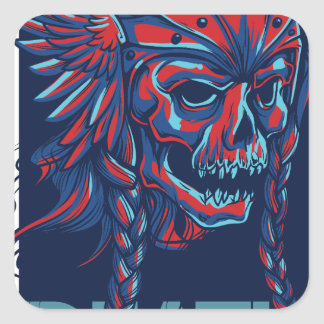 death with flying skull design square sticker
