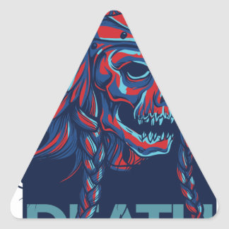 death with flying skull design triangle sticker