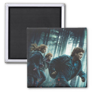 Deathly Hallows - Group Running Square Magnet