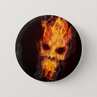 Death's head in flames swipes in 2 inch round button