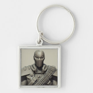 Deathstroke Silver-Colored Square Keychain