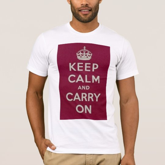 DEBACLE KEEP CALM AND CARRY ON T SHIRT