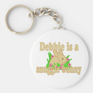 Debbie is a Snuggle Bunny Basic Round Button Keychain