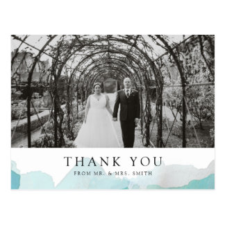 Debonair Turquoise Wedding Thank You Postcard