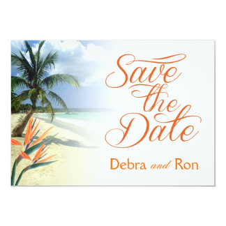 Debra Emerald Waters Beach Save the Date | papaya Card