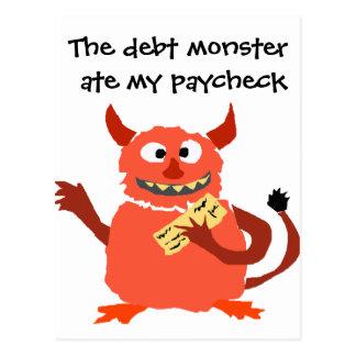 Debt Monster eating Paycheck Cartoon Postcard