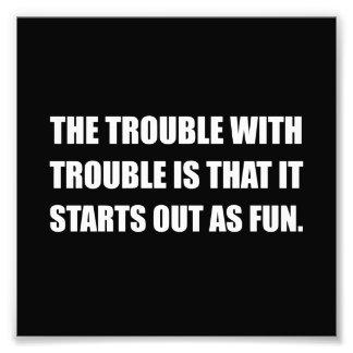 Débuts de problème comme amusement impressions photo