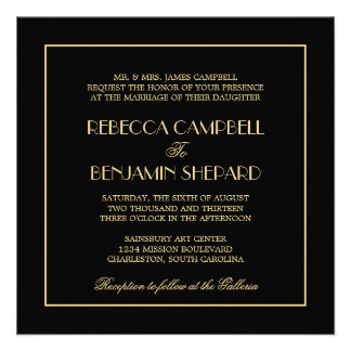 Decadent Deco elegant chic formal black wedding Invite