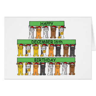 December 16th Birthdays celebrated by cats. Card