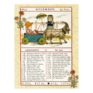 December 1884 Almanac.  Capricorn, The Goat Postcard