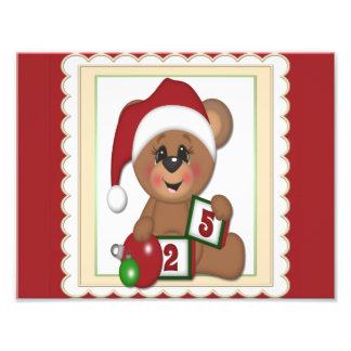 December 25th Teddy Bear in Santa Hat Photograph