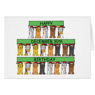 December 30th Birthdays celebrated by cats. Card
