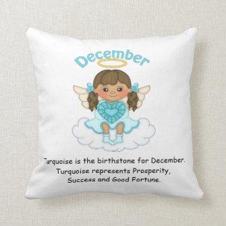 December Birthstone Angel Brunette Throw Pillow