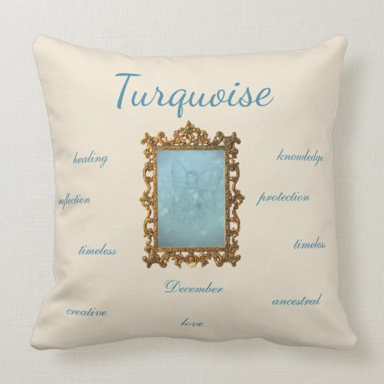 December Birthstone Turquoise Fairy Throw Pillow
