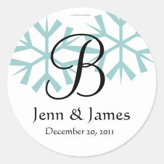 December Blue Snowflakes Monogram B Seal Round Sticker