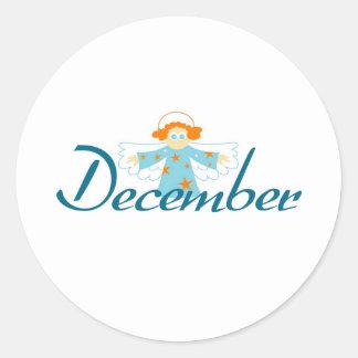 December Classic Round Sticker