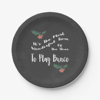 December Holiday Bunco Paper Plate