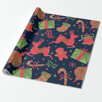 December Holiday Print Wrapping Paper