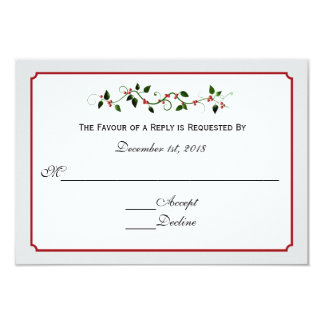 December Holiday Wedding Response RSVP Card