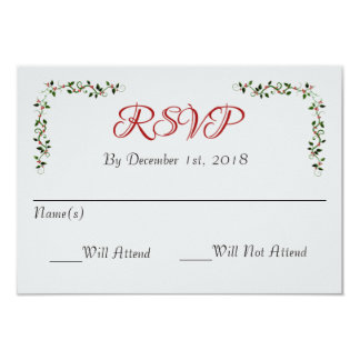 December Holiday Wedding RSVP Reply or Response Card