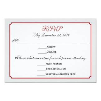 December Holiday Wedding RSVP Response with Menu Card