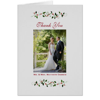 December Holiday Wedding Thank You Photo Folded Note Card