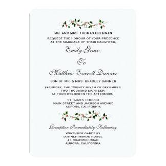 December Holiday Winter Wedding Formal Invitation
