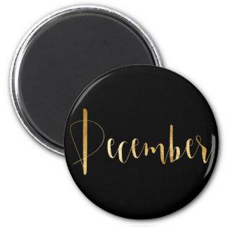 December Month Planner Black Gold Glam Script VIP Magnet