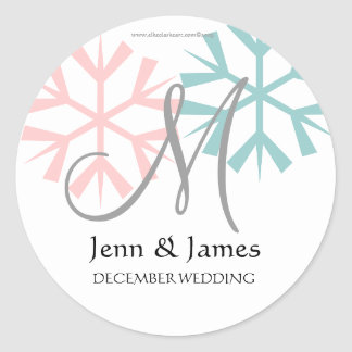 December Pink Blue Snowflake Monogram M Seal
