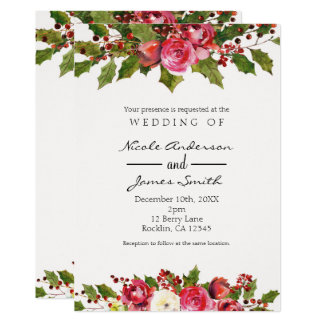 December Winter Wedding Holly Berry Floral Holiday Card