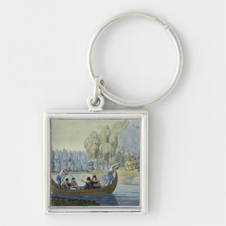 Deception of Captain Wallis by Queen Oberea, plate Silver-Colored Square Keychain